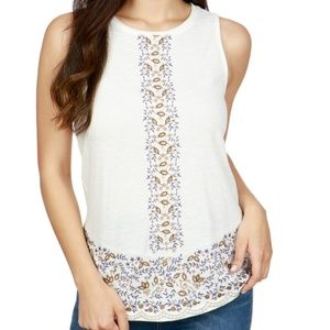 Lucky brand embroidered tank Large